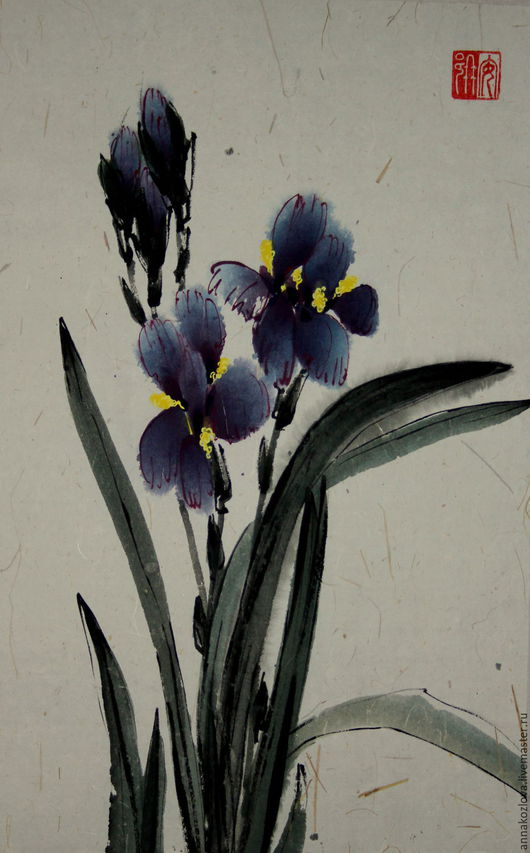 Картины цветов ручной работы. Ярмарка Мастеров - ручная работа. Купить акварельИрисы(картина китайская живопись цветы синий весна. Handmade.