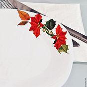 Посуда ручной работы. Ярмарка Мастеров - ручная работа Тарелки обеденные с пуансеттией. Handmade.