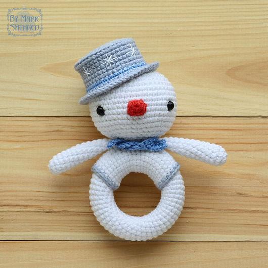 Развивающие игрушки ручной работы. Ярмарка Мастеров - ручная работа. Купить Погремушка Снеговичок. Handmade. Разноцветный, животные