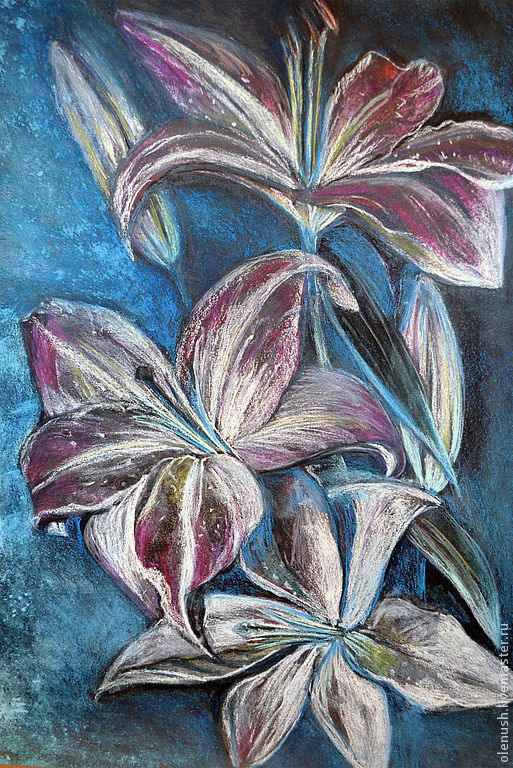 """Картины цветов ручной работы. Ярмарка Мастеров - ручная работа. Купить Картина пастелью """"Лилии"""". Handmade. Картина в подарок"""