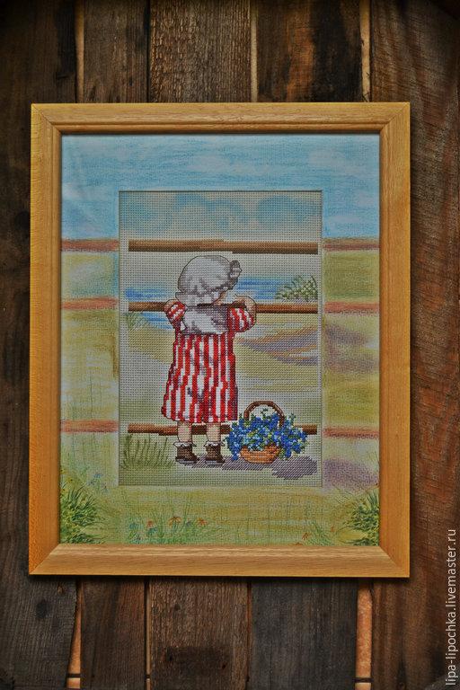 """Детская ручной работы. Ярмарка Мастеров - ручная работа. Купить вышитая картина из серии """"Малыши и море"""". Handmade. Разноцветный"""