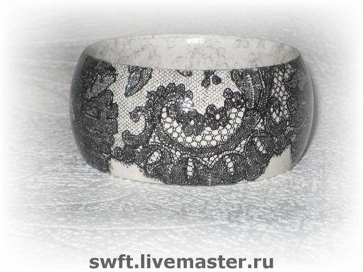 белый черный черно-белый романтичный красивый женский недорогой деревянный браслет подарок кружево недорого красиво что подарить девушке женщине сестре подруге маме жене 8 марта день рождения дерево