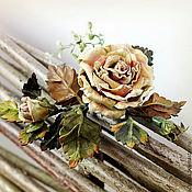 """Украшения ручной работы. Ярмарка Мастеров - ручная работа Брошь из натуральной кожи """" Чайная роза"""". Handmade."""