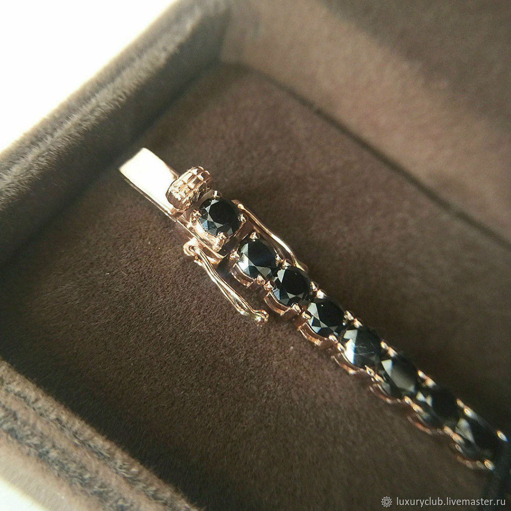 Золотой браслет с чёрными бриллиантами купить, Браслет-цепочка, Тольятти,  Фото №1