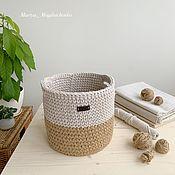 Корзины ручной работы. Ярмарка Мастеров - ручная работа Корзина из джута и хлопкового шнура. Handmade.