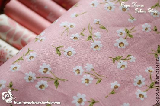 """Шитье ручной работы. Ярмарка Мастеров - ручная работа. Купить Ткань хлопок """"Ромашки"""". Handmade. Бледно-розовый, ткань хлопок"""