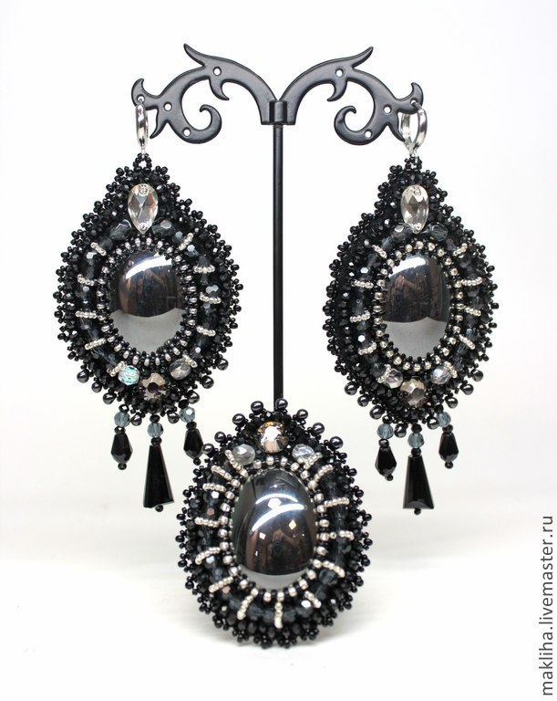 Large earrings and a ring 'Viennese ball', Jewelry Sets, Moscow,  Фото №1