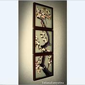 """Для дома и интерьера ручной работы. Ярмарка Мастеров - ручная работа Часы """"Сакура"""" из 3-х частей ГОТОВАЯ РАБОТА. Handmade."""