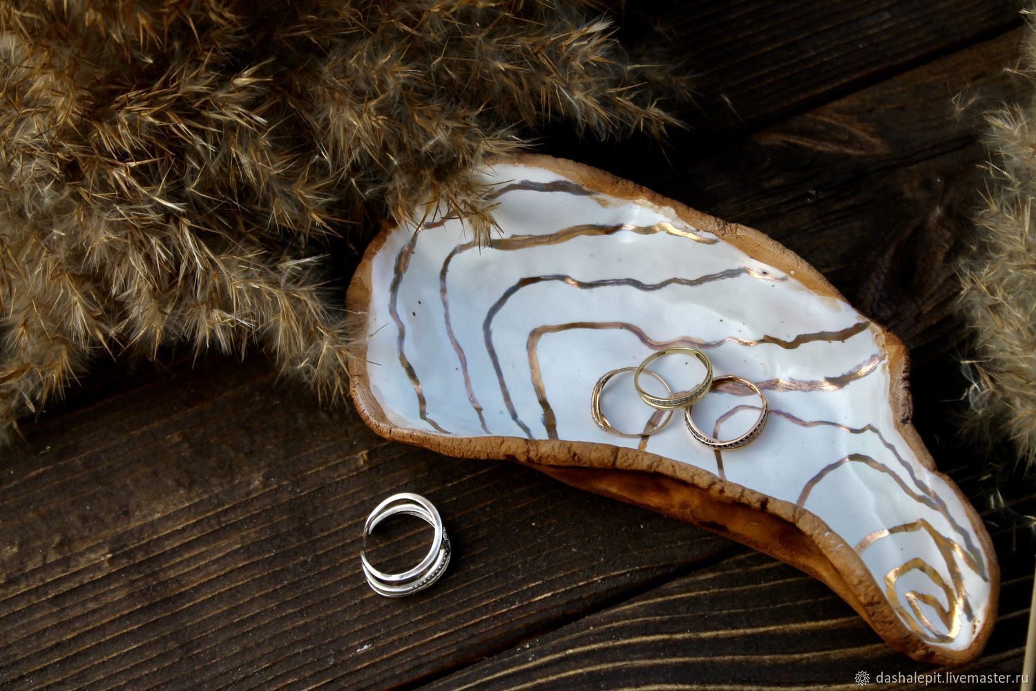 Handmade ceramic shell for rings with real gold, Caskets for rings, Saratov,  Фото №1