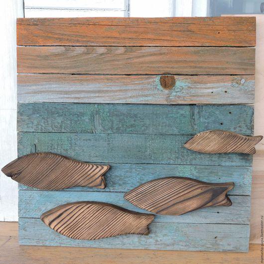 Этно ручной работы. Ярмарка Мастеров - ручная работа. Купить Деревянная картина - Закат (рыбы №2). Handmade. Синий, ирландия