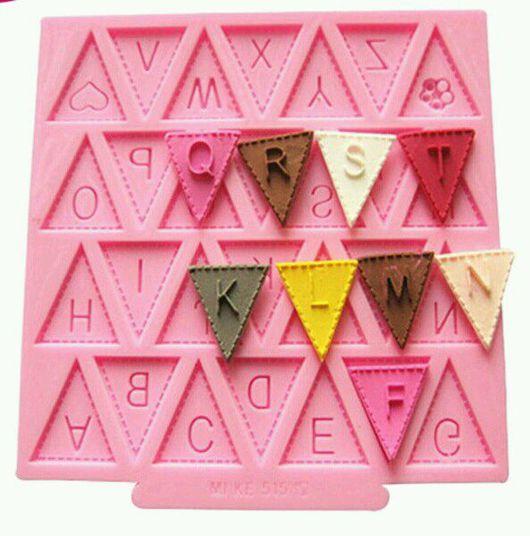 """Другие виды рукоделия ручной работы. Ярмарка Мастеров - ручная работа. Купить Молд """"Флажки"""". Handmade. Розовый, молд буквы"""