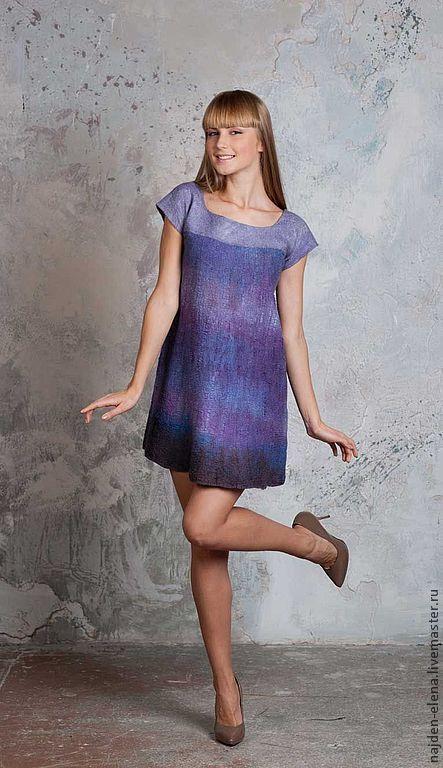 Платья ручной работы. Ярмарка Мастеров - ручная работа. Купить платье-туника Лаванда. Handmade. Сиреневый, войлок, шерсть 100%