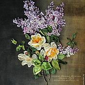 """Картины ручной работы. Ярмарка Мастеров - ручная работа картина """"Сирень и розы"""" ручная работа. Handmade."""
