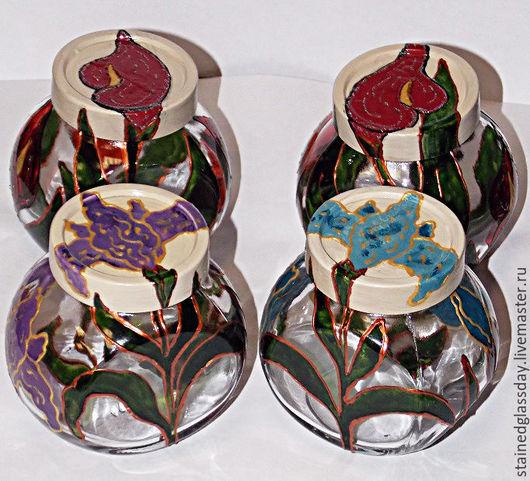Банки для чая с рисунками цветов роспись по стеклу