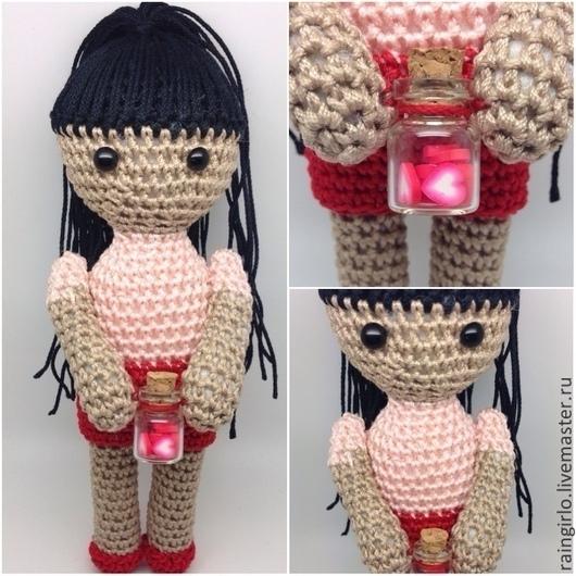Человечки ручной работы. Ярмарка Мастеров - ручная работа. Купить Куколка Love. Handmade. Ярко-красный, куколка