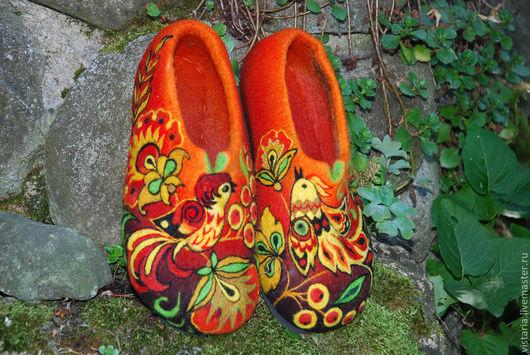 Обувь ручной работы. Ярмарка Мастеров - ручная работа. Купить Тапочки  «Райские птички» Хохлома. Handmade. Валяные тапочки