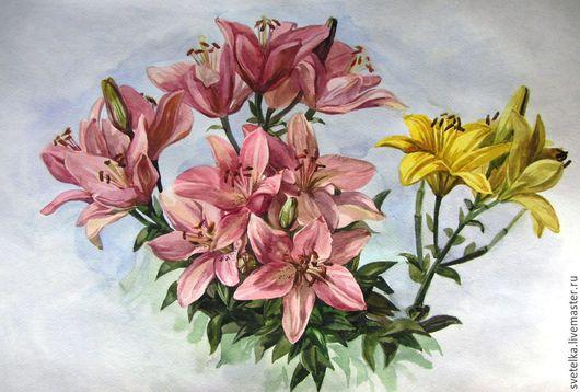 """Картины цветов ручной работы. Ярмарка Мастеров - ручная работа. Купить Картина цветов """"Лилии"""". Handmade. Картина, картина в подарок"""