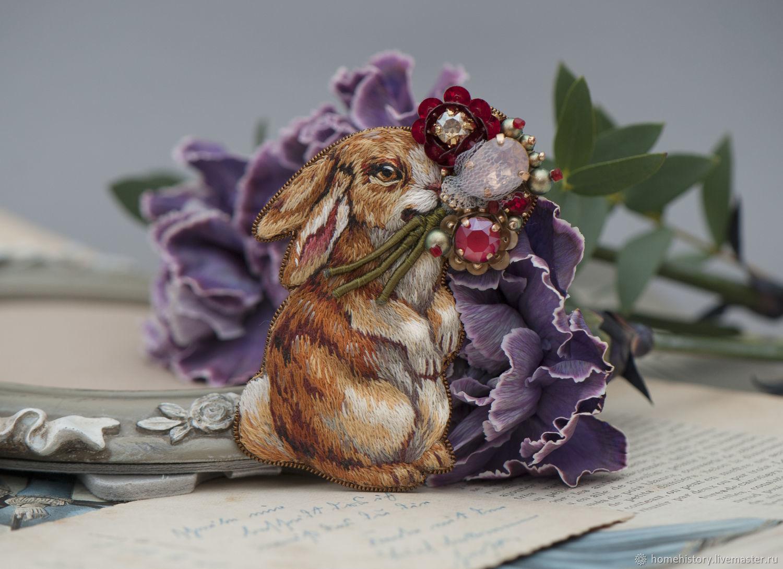 Брошь Винтажный кролик с букетом Сангрия, Брошь-булавка, Нижний Новгород,  Фото №1