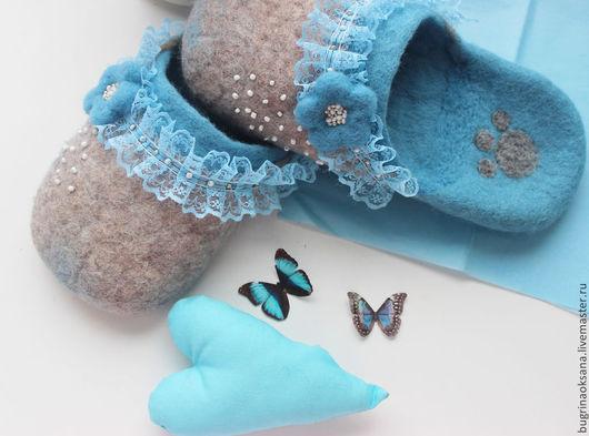 """Обувь ручной работы. Ярмарка Мастеров - ручная работа. Купить Валяные тапочки """"Голубая Морфа"""". Handmade. Голубой, обувь на заказ"""