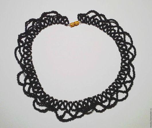Колье, бусы ручной работы. Ярмарка Мастеров - ручная работа. Купить Черное ожерелые. Handmade. Черный, чешский бисер