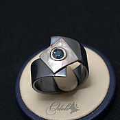 Украшения handmade. Livemaster - original item 925 Silver ring with black cape sapphire. Handmade.