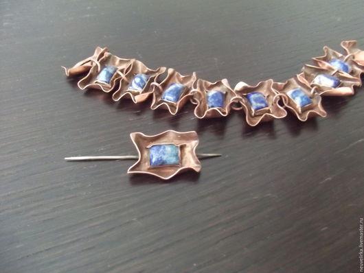 Браслеты ручной работы. Ярмарка Мастеров - ручная работа. Купить Медный браслет с лазуритом. Handmade. Медь ручной работы