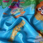 """Аксессуары ручной работы. Ярмарка Мастеров - ручная работа Платок шелк""""Смешарики""""серия """"Куда уходит Детство?"""". Handmade."""