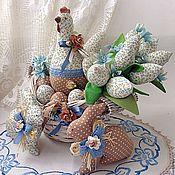 Для дома и интерьера ручной работы. Ярмарка Мастеров - ручная работа Пасхальная композиция Курочка, кролики, букетик. Handmade.