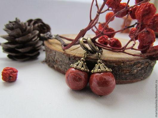 """Серьги ручной работы. Ярмарка Мастеров - ручная работа. Купить Серьги из яшмы """"Терракота"""".. Handmade. Рыжий, терракота, яшма"""