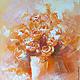 Абстракция ручной работы. Ярмарка Мастеров - ручная работа. Купить Розы. Handmade. Оранжевый, Живопись, картина для интерьера, букет