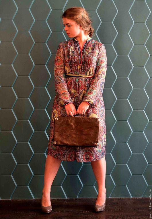 Платья ручной работы. Ярмарка Мастеров - ручная работа. Купить Платье из шифона ПЕЙСЛИ. Handmade. Комбинированный, шифоновое платье, трикотаж