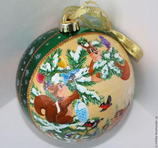 Новый год 2017 ручной работы. Ярмарка Мастеров - ручная работа. Купить Новогодний шар с белками. Handmade. Разноцветный, шар на елку