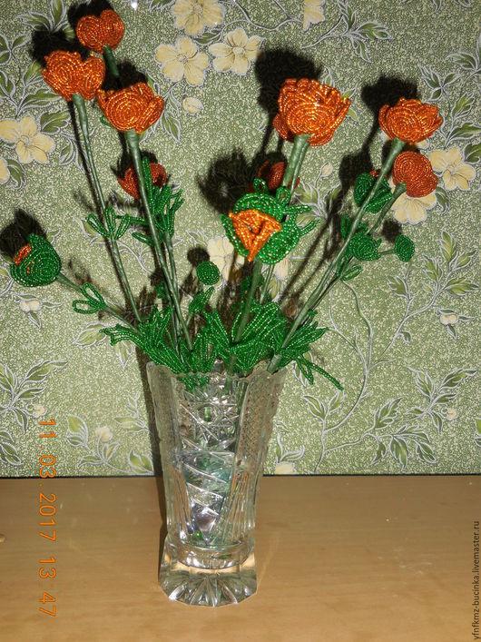 Цветы ручной работы. Ярмарка Мастеров - ручная работа. Купить Купальница (жарки). Handmade. Оранжевый, бисер
