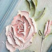 """Картины и панно ручной работы. Ярмарка Мастеров - ручная работа Картина объемная """"Роза в голубой раме"""". Handmade."""