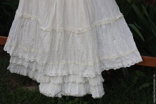 Юбки ручной работы. Ярмарка Мастеров - ручная работа. Купить юбка в бохо-стиле  с кружевом молочного цвета. Handmade.