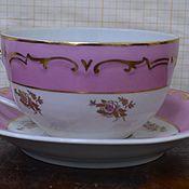 Винтаж handmade. Livemaster - original item Tea pair pink embossed pattern. Handmade.
