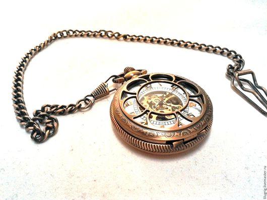 """Часы ручной работы. Ярмарка Мастеров - ручная работа. Купить Часы механические карманные """"Медная романтика"""". Handmade. Комбинированный, цифры"""
