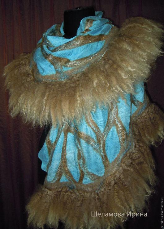 """Шали, палантины ручной работы. Ярмарка Мастеров - ручная работа. Купить шаль палантин """"Море"""". Handmade. Голубой, боа, море"""