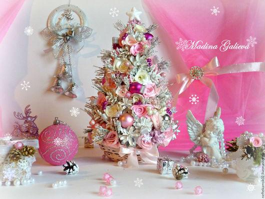 Новый год 2017 ручной работы. Ярмарка Мастеров - ручная работа. Купить Новогодняя шебби елочка. Handmade. Розовый, шебби елочка
