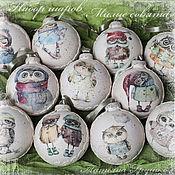 """Подарки к праздникам ручной работы. Ярмарка Мастеров - ручная работа Новогодний набор """"Милые совушки"""" (12 шариков). Handmade."""