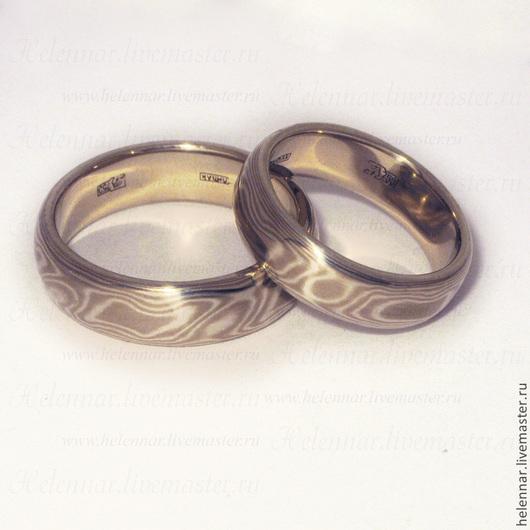 """Свадебные украшения ручной работы. Ярмарка Мастеров - ручная работа. Купить Обручальные кольца в стиле Мокуме Гане """"Каппучино"""". Handmade."""