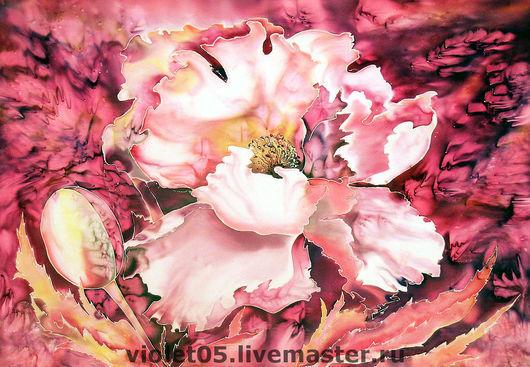 """Картины цветов ручной работы. Ярмарка Мастеров - ручная работа. Купить Батик Панно """"Мак"""" Batic of the sir Poppy. Handmade."""