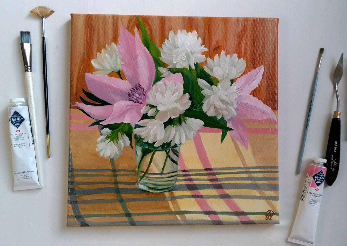 """Картина маслом. """"Утренние цветы"""" 30х30 см, Картины, Москва,  Фото №1"""
