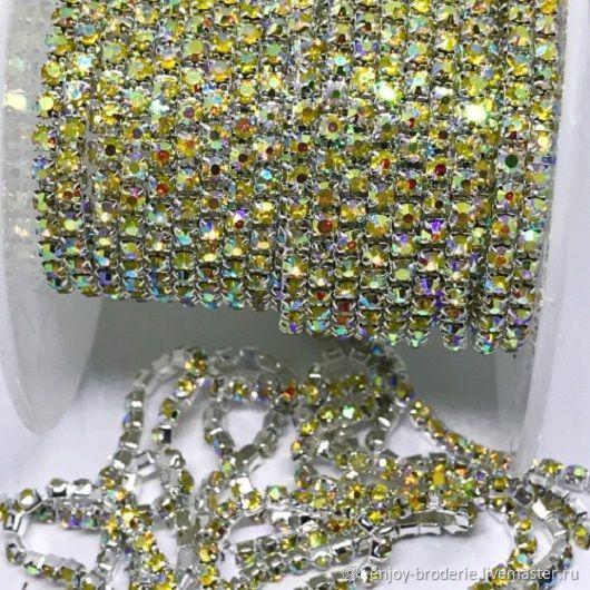 Стразовая лента светло-золотая АВ в серебре, 2 мм, 10 см, Кристаллы, Санкт-Петербург,  Фото №1