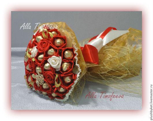 Подарки для влюбленных ручной работы. Ярмарка Мастеров - ручная работа. Купить Букет из конфет с брошками и атласными розами. Handmade.
