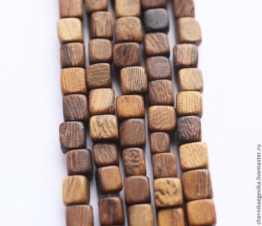 Для украшений ручной работы. Ярмарка Мастеров - ручная работа. Купить Бусины-кубики деревянные, роблес, 6х6 мм, 10шт.. Handmade.