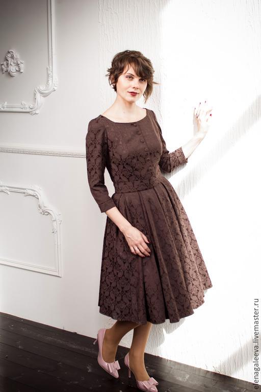 """Платья ручной работы. Ярмарка Мастеров - ручная работа. Купить Платье """"Шоколад"""". Handmade. Коричневый, юбка в складку, нью лук"""