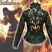 Одежда handmade. Livemaster - original item Leather women`s jacket with lace, fitted jacket. Handmade.