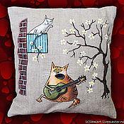 Для дома и интерьера ручной работы. Ярмарка Мастеров - ручная работа Подушка с мартовскими котами. Handmade.