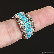 Rings handmade. Livemaster - original item Ring with natural turquoise and marcasite (size 17). Handmade.